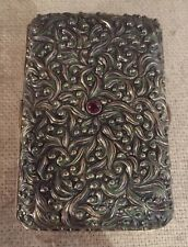 Gorham Antique Aesthetic Sterling Silver & Green Enamel Ornate Cigarette Case