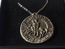 "Templar Seal code dr70  Made From Fine Pewter On 24"" Silver Plated Curb Necklace"