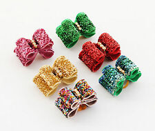 10pcs Pet Small Dog Rhinestone hair Bows Rubber Bands Colourful Puppy Grooming