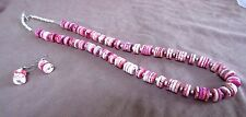Navajo Hand Strung Magnesite & Silver Necklace w/ Matching Earrings JN0099