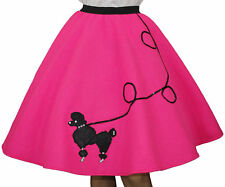 "Neon Pink FELT 50s Poodle Skirt _ Adult Size MEDIUM _ Waist 30""-37"" _ Length 25"""