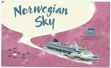 ms NORWEGIAN SKY..cruise ship...NCL. large promo card ..w/official ships stamp