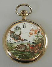 Gold Plated Pocket Watch with an unusual Painted dial. c1915
