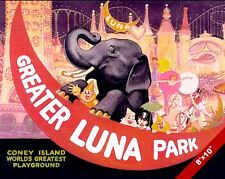 VINTAGE LUNA PARK CONEY ISLAND VACATION TRAVEL AD POSTER ART REAL CANVAS PRINT