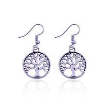 Stile vintage argento antico rovere color albero orecchini pendenti, albero dell