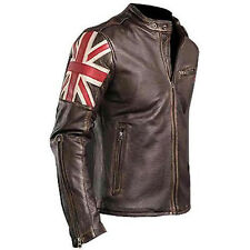 UK Flag Men's Biker Vintage Style Motorcycle Cafe Racer  Leather Jacket - BNWT