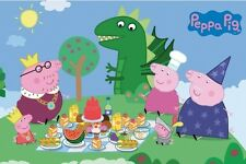 Peppa Pig Princess Picnic Edible Cake Topper Frosting 1/4 Sheet Birthday Party
