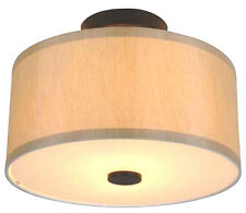 Semi Flush mount Round Fabric Shade Ceiling Lighting Fixture OIL RUBBED BRONZE