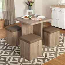 Dining Table 4 Stools Ottoman Space Saver Storage Kitchen Furniture Chairs New