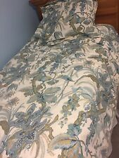 Pottery Barn Blue Patterned Duvet Cover and Euro Sham size Twin