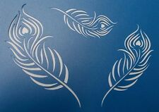 Scrapbooking - STENCILS TEMPLATES MASKS Sheet - Peacock Feathers x 3