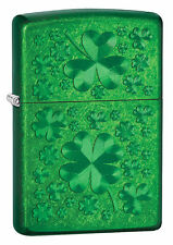 Zippo Windproof Green Iced Shamrock Clover Lighter, 28354, New In Box