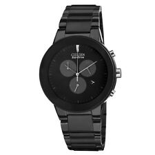 Citizen AT2245-57E Axiom Eco Drive Black Steel Chronograph Date Mens Watch
