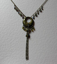 "OLIVE GREEN ENAMEL DANGLY DARK GOLD PLATED PENDANT NECKLACE TASSEL 14"" 35CM EXT"