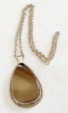 Stunning Ladies Vintage Solid Silver Large Agate Pendant On Solid Silver Chain