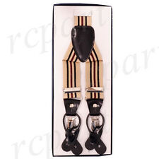 New in box Men's Vesuvio Napoli Suspenders Braces clip on beige black Stripes