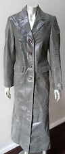 Real Leather Vintage 90s Retro Maxi Trench Green Faux Snakeskin Jacket Coat sz M