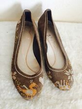 Baby Jane Cacharel Flats Size 7 Brown Leather Cross Stitch Heats Boho Shoes