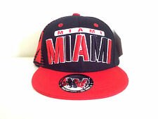 KIDS MIAMI 3D EMBROIDERED FLAT BILL TWO TONE (BLACK/RED) COTTON SNAPBACK CAP