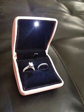 New 2 Double Dual Ring Box Wedding & Engagement Set or Bands Black Velvet