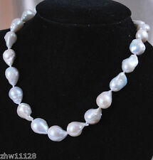 12-16mm Real Natural White South Sea Baroque Pearl Necklace 18""