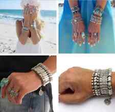 Hot Turkish Festival Jewelry Bohemian Ethnic Silver Punk Chunky Bracelet Anklet