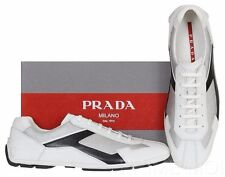 NEW PRADA BLACK WHITE LEATHER LOGO CASUAL LACE-UP SNEAKERS SHOES 9/US 10