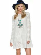 NEW Jetset Diaries Free People 'The Undone' Dress Size XS White Eyelet Crochet
