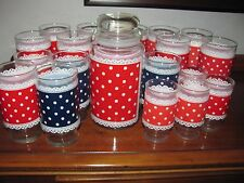 VINTAGE LOT OF RED POLKA DOT AND LACE DRINKING GLASSES~COOKIE JAR~BLUE POLKA DOT