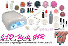 Großes Nagelstudio Start-Set UV-Lampe Gel Primer Feilen Tips Nailart Pinsel uvm.