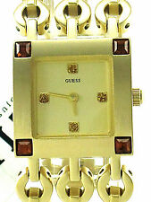 GUESS Ladies G12582L Yellow Crystals Yellow Square Dial Goldtone Steel Bracelet