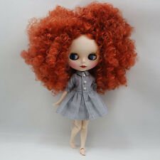 Blythe Nude Doll from Factory Matte Face+Jointed Body+Copper Red Curly Hair