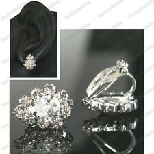 CLIP ON CZ CRYSTAL cubic zirconia TEARDROP EARRINGS silver rhinestone small clip
