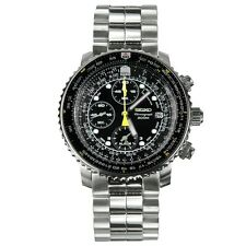 Seiko Men's SNA411 Flight Alarm Chronograph Black Dial Stainless Steel Watch