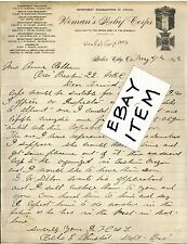1893 letter BAKER CITY OREGON Celia Olmsted WOMAN'S RELIEF CORP GAR San Diego CA