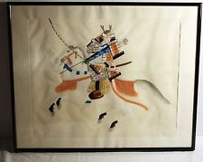 Asian Painting Silk Cloth Samurai Warrior on Horse Signed Japanese Framed
