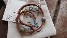 Henry Cuir Beguelin New Colorful Brown Leather Wrap Beaded Bracelet