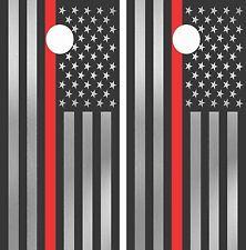 American Flag Red FireFighter CornholeWraps LAMINATED DecalSetDecalsVinylSticker