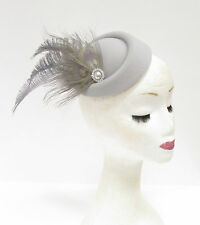 Grey Silver Feather Pillbox Hat Headpiece Races Hair Fascinator Vintage 2227
