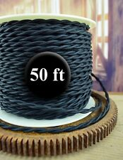 Black Cloth Covered Twisted Wire 50ft Roll - Lamp Cord - Antique Fan Rewire