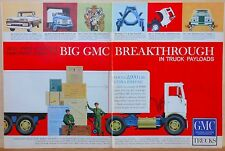 1959 two page magazine ad for GMC trucks - Big Breakthrough in Truck Payloads