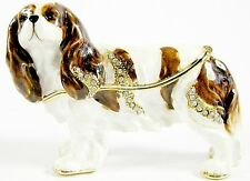 """Cavalier King Charles Spaniel""  Enamelled Dog Trinket Box or Figurine -Standing"