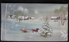 Vintage Christmas Greeting Card Santa and Horse Drawn Sleigh Norcross