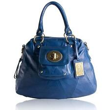 $898 Coach Kira Blue Leather Gold Brass Hardware Satchel Handbag