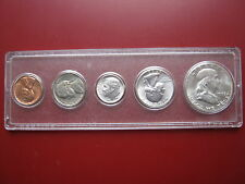 USA 1963 5 coin set 3 silver coins Franklin Half Dollar in plastic case