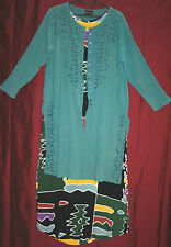 "!!REDUCED!! JORDASH Teal green tunic long-line 46""bust 100% COTTON quirky jacket"