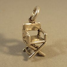 .925 Sterling Silver 3-D DIRECTORS CHAIR CHARM Pendant Patio Movie NEW 925 HM25