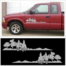 Decal kit COWBOY TRAIL RIDER set for farm stable truck or horse trailer SILVER