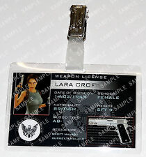 Lara Croft Tomb Raider Game ID Badge Weapon License Cosplay Costume Halloween