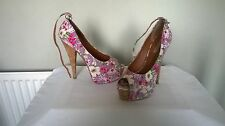 "RIVER ISLAND TEXTILE PURPLE PRINT ""EVOKE GARDEN"" HI PEEP TOE SHOES, UK SIZE 6"